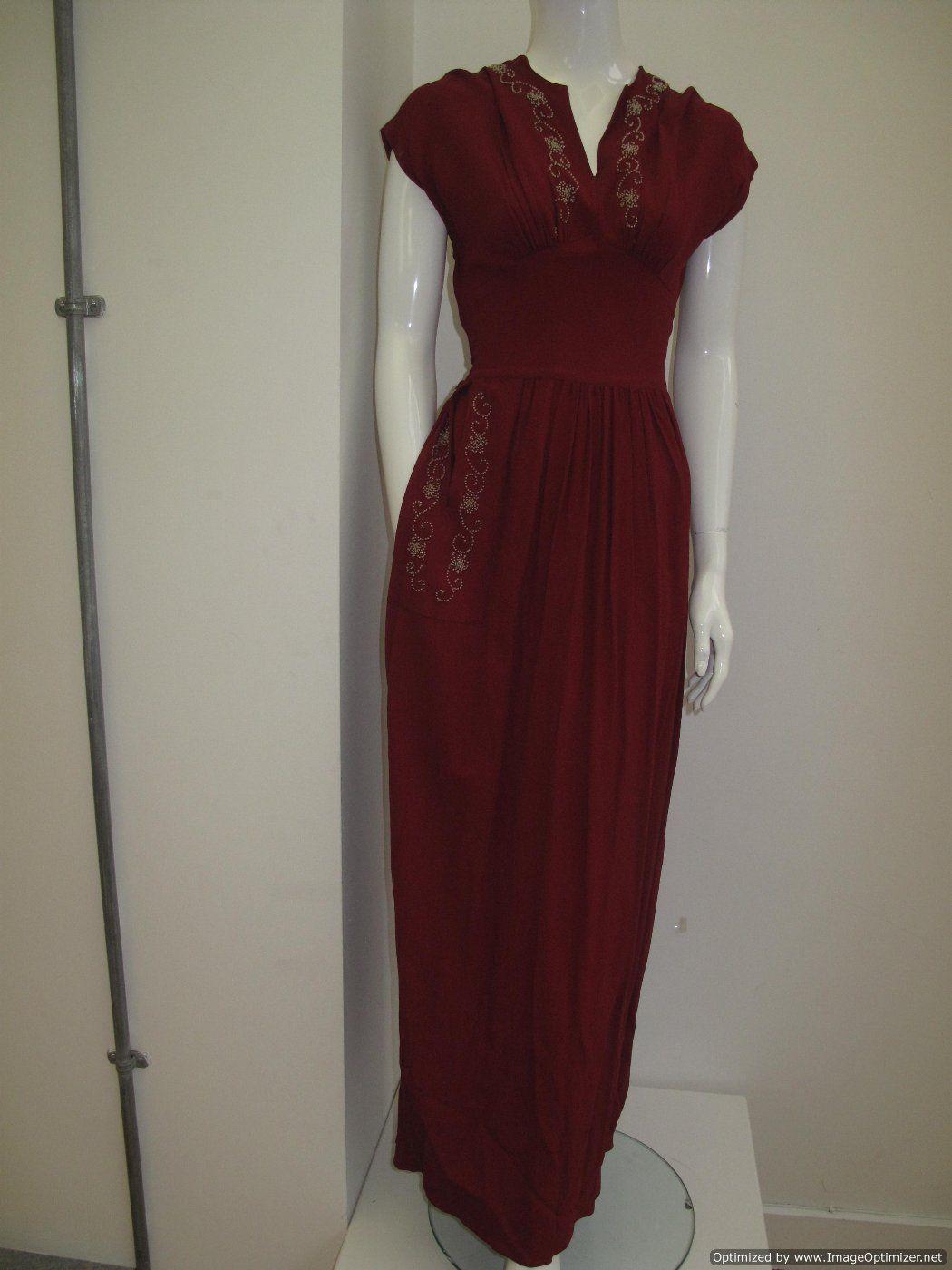 1940 s Viscose crepe Cardinal red vintage evening dress SOLD | 40\'s ...