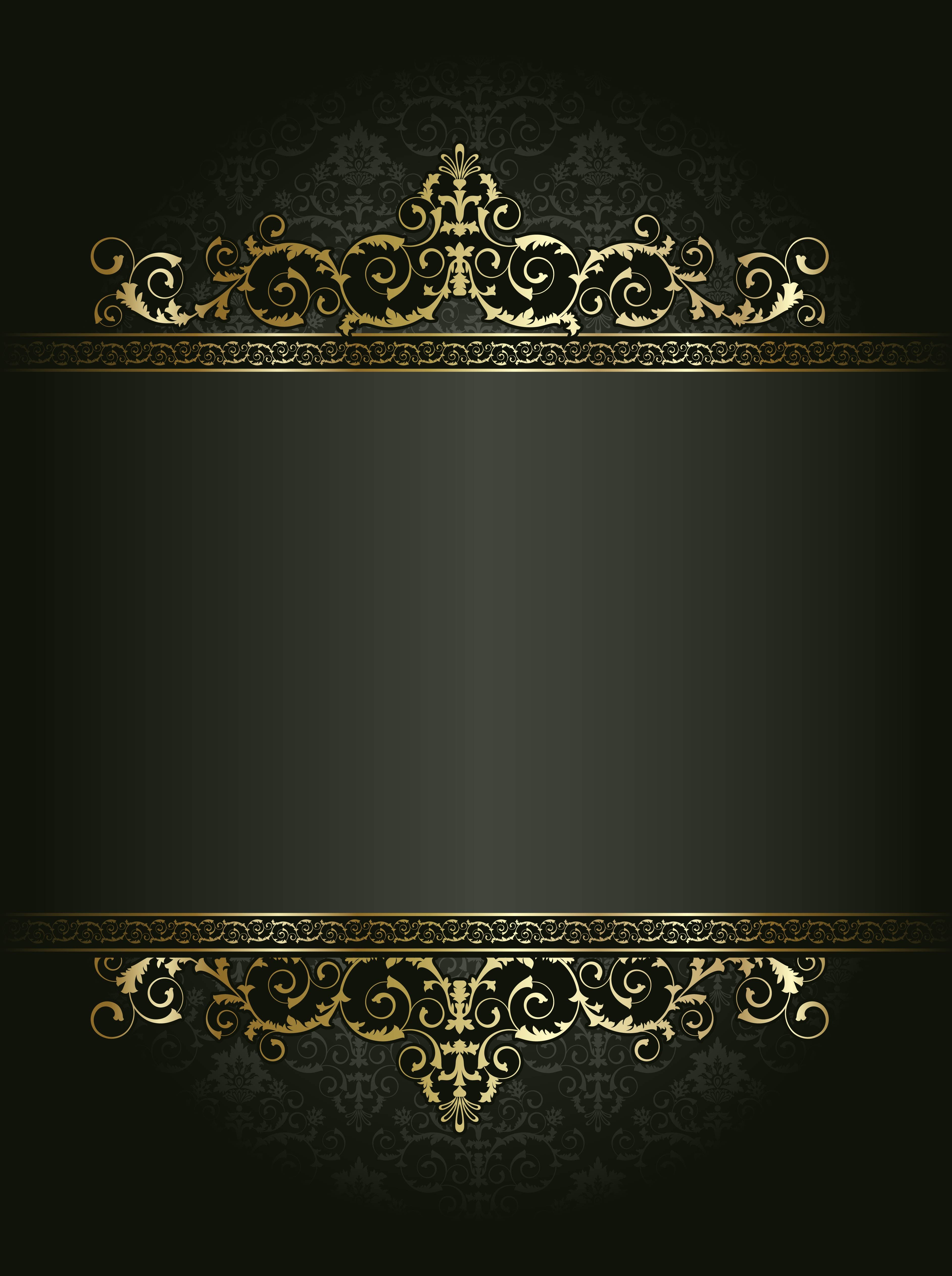 Vector Black Atmosphere Continental Gold Pattern Shading Poster Gold Pattern Antique Design Floral Vector Background Powerpoint Background Design Gold Pattern