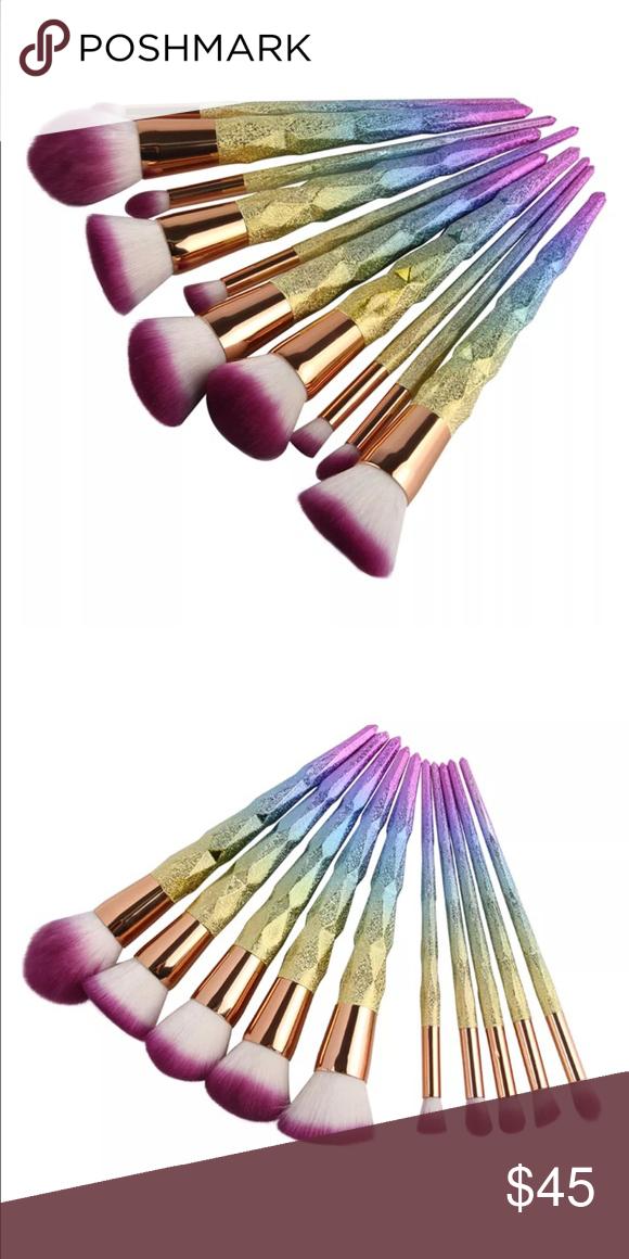 Mermaid brush set 🦋 Mermaid 10 PC brush set *pre order 7-14 days* rebellious rose Makeup Brushes & Tools