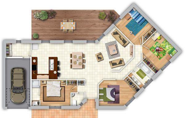 Maison contemporaine en L Rezé Sims, Architecture and Construction - plan de maison de 100m2 plein pied