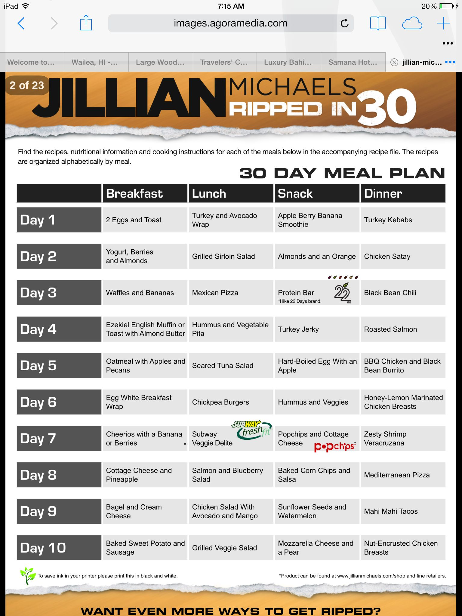 30 day shred meal plan pdf