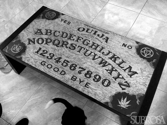 Ouija board coffee table Oh yeah Make a couple planchetteshaped