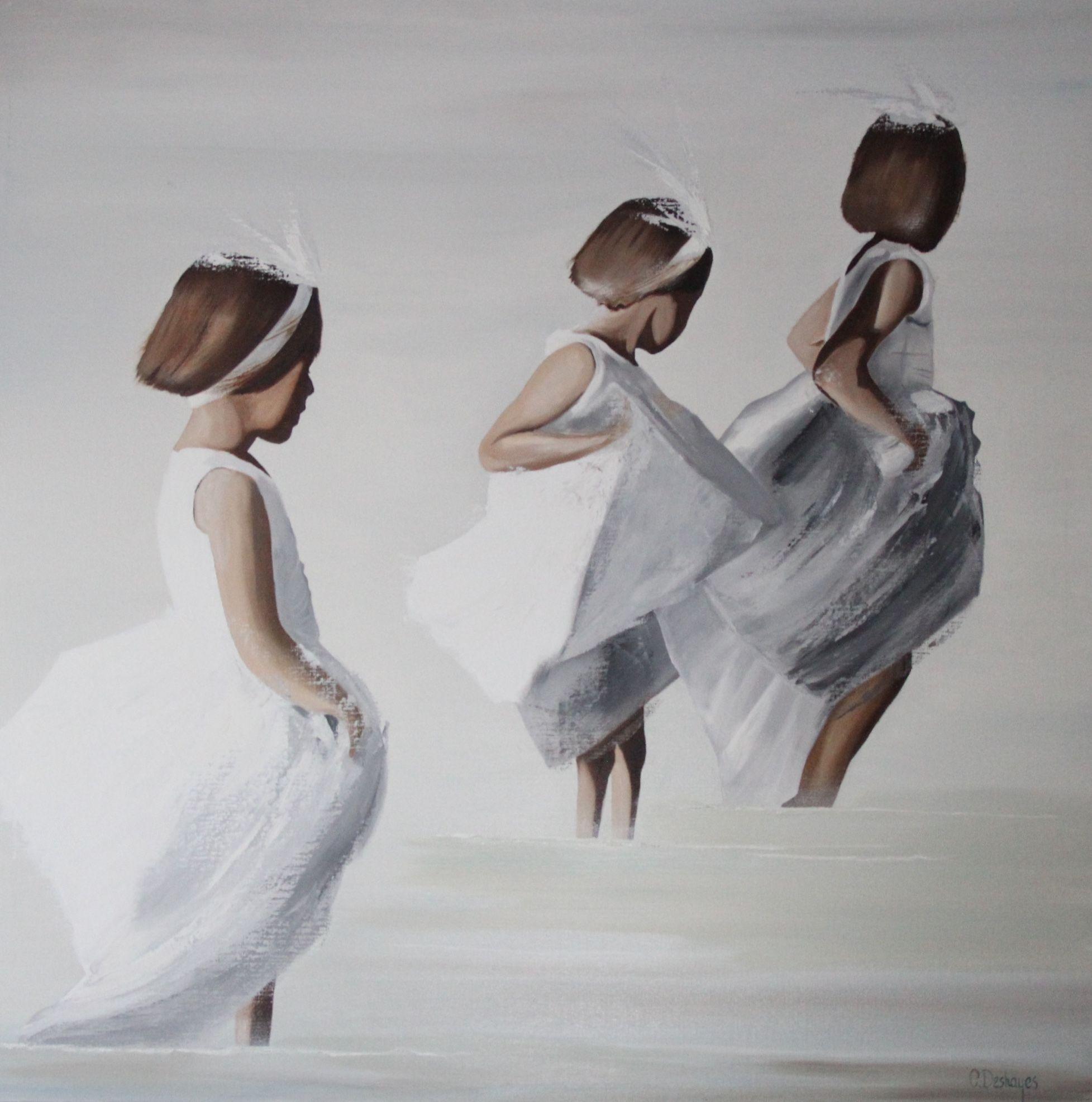 Petites Filles La Plage 120 X 120 Dessin Enfant Pinterest Paintings