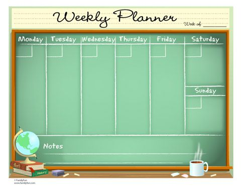 Weekly Calendar For Teachers Printable Activity For Parents And