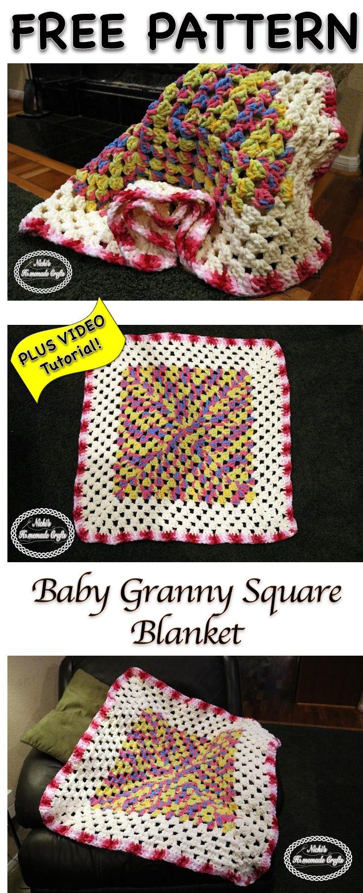 Baby Granny Square Blanket - Free Crochet Pattern   Manta, Puntadas ...