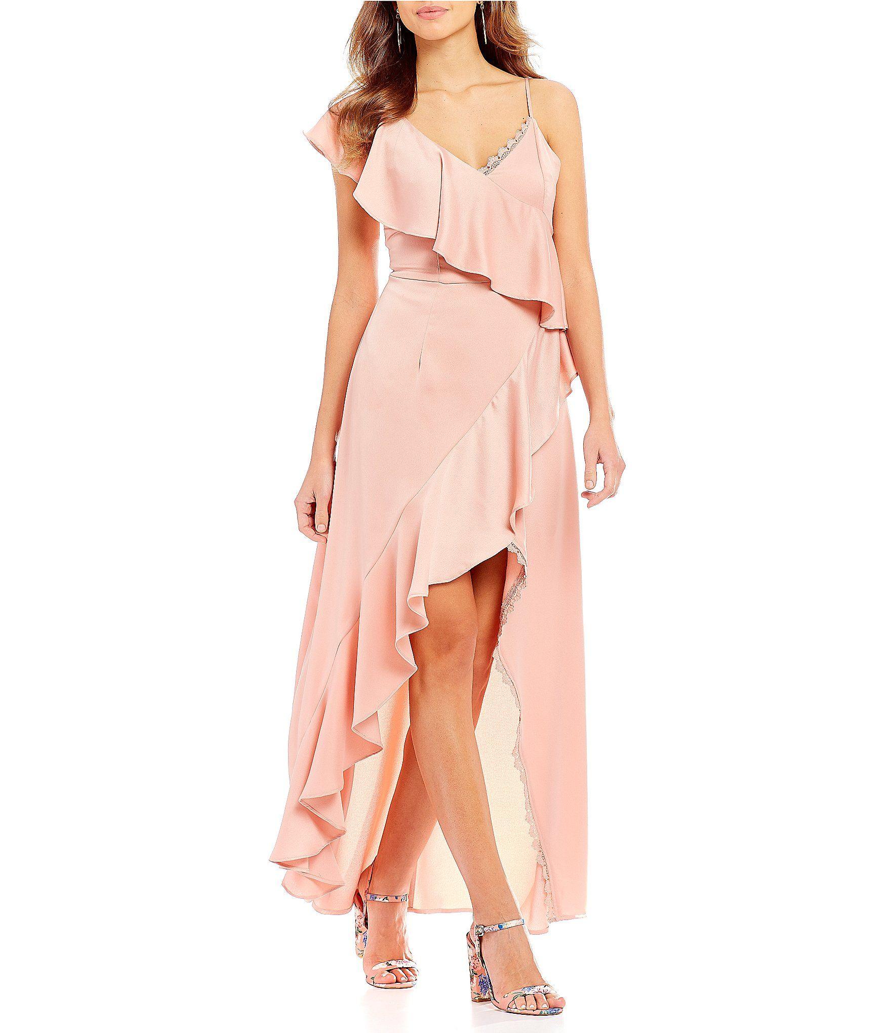 44f748609f3 Shop for Gianni Bini Rose Asymmetrical Ruffle Front Satin Faux Wrap Dress at  Dillards.com