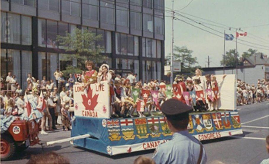 July 1, 1967, Centennial Canada Day, school children dressed in ...