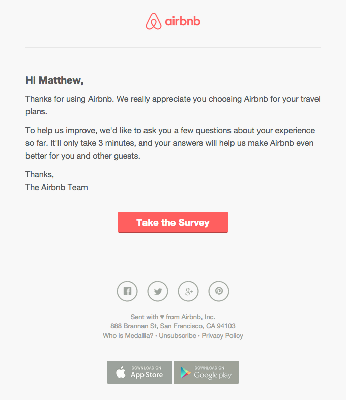 Airbnb survey email design email digital marketing for Customer survey email template