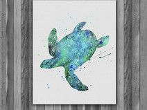 Sea Turtle Printable Watercolor art print