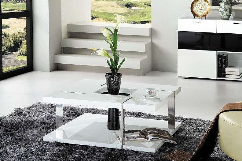 Contemporary White Square Coffee Table Modern Coffee Tables