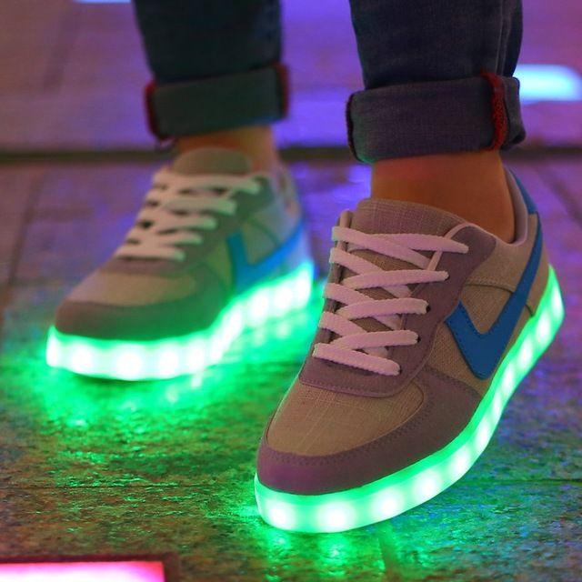 2016 Mens light up jordan shoes flat tenis feminino flash Unisex shoes tenis led Glowing 7