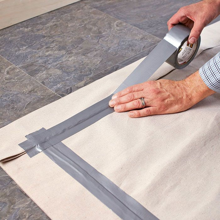 DIY Drop Cloth Rug 12 For Leftover Latex Paint Sealed With Poly From Furniture Project