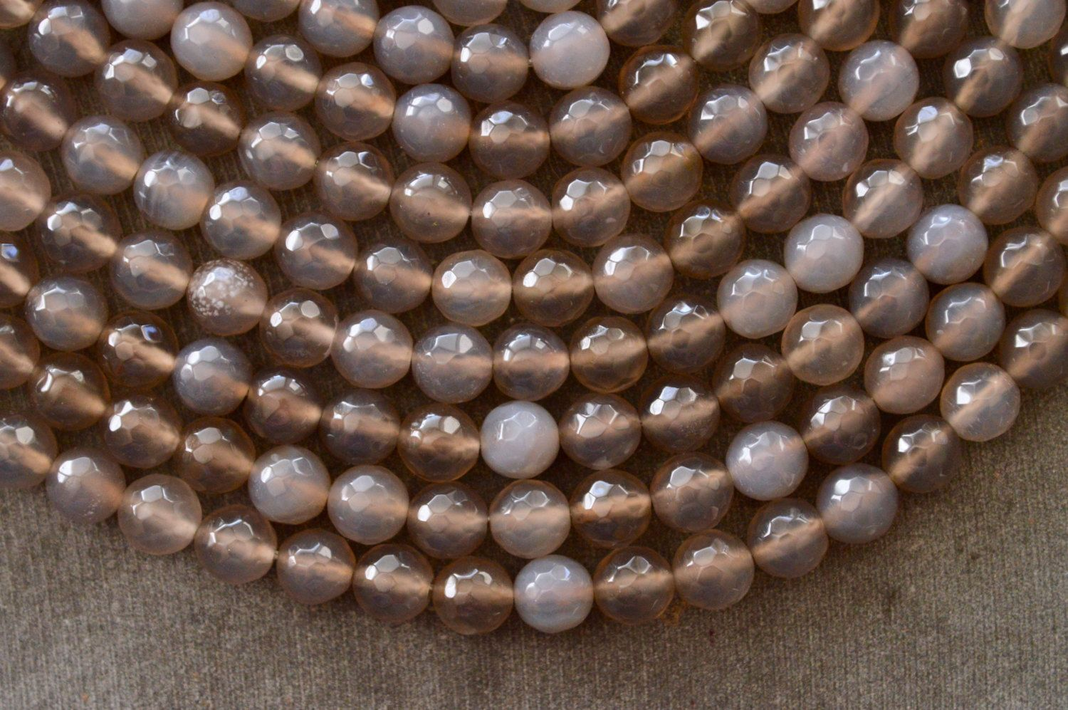 8mm Gray Agate Stone Beads, Gemstone, Faceted Agate, 10 Beads, Gray Stone Beads Mala Beads 8mm Stone Beads by TheBeadBandit on Etsy