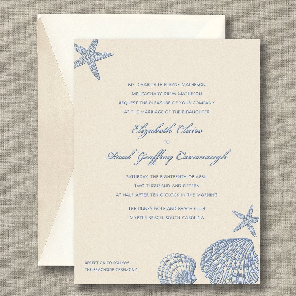 French Blue Shells Pearlized Soft Champagne Wedding Invitations