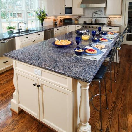 white kitchen cabinets blue countertops Sodalite Blue Granite countertop with white cabinets