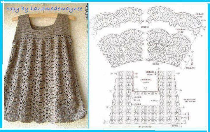 patrones de vestidos tejidos a crochet para niña | 衣 | Pinterest ...