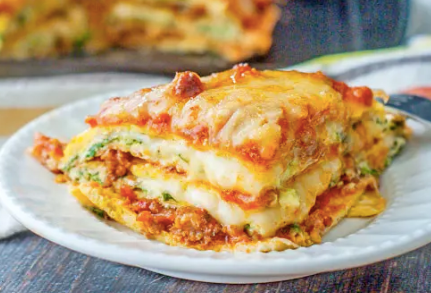 Koolhydraatarme lasagne met gehakt en veel kaas