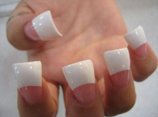 Cly Wide Tip Pink And White Nails
