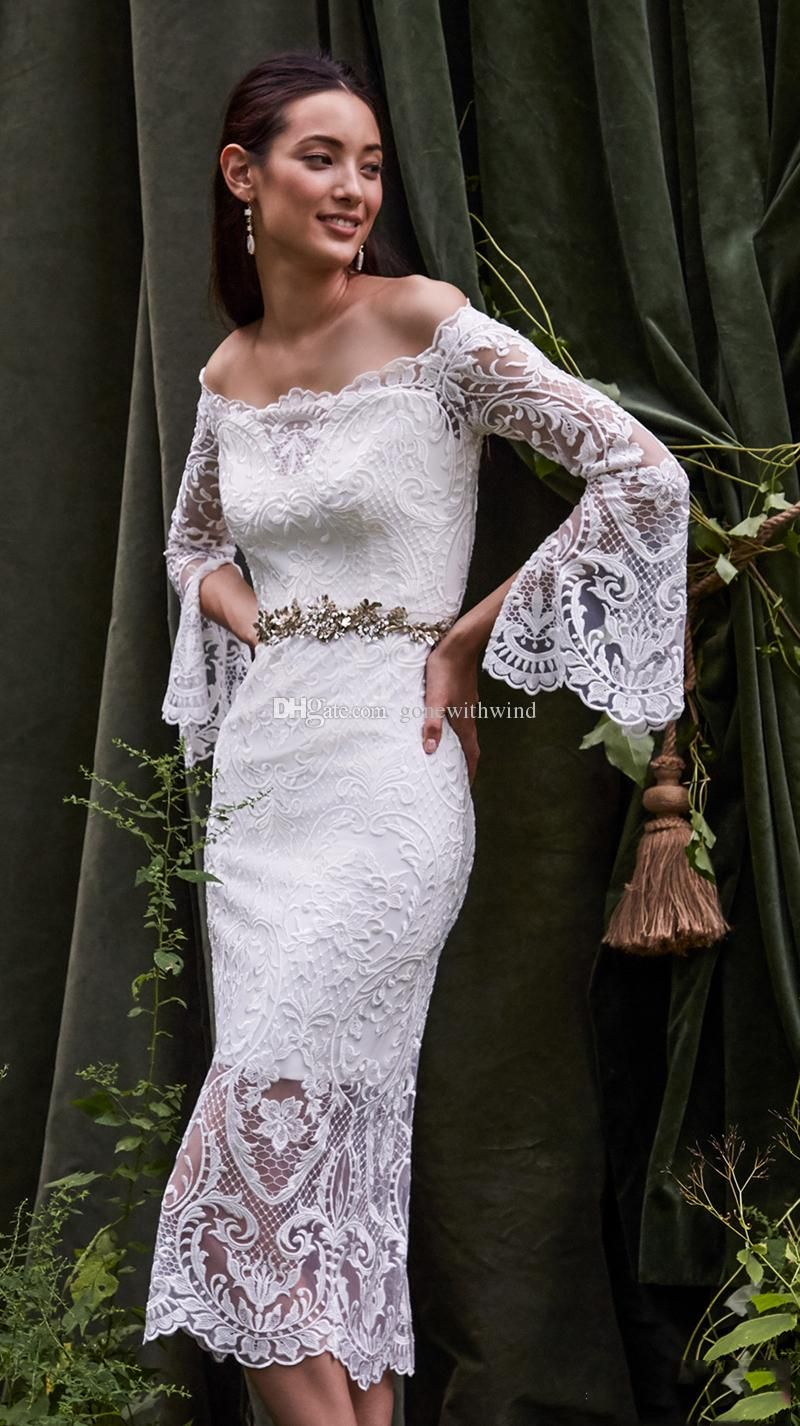 Cape sleeves full beaded wedding dresses 2017 bridal gown beateau chic semi wedding dresses 2016 long bell sleeves off the shoulder scallop straight across neckline tea ombrellifo Choice Image