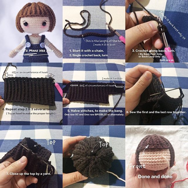 How to make doll\'s hair | Amigurumi patrones gratis | Pinterest ...