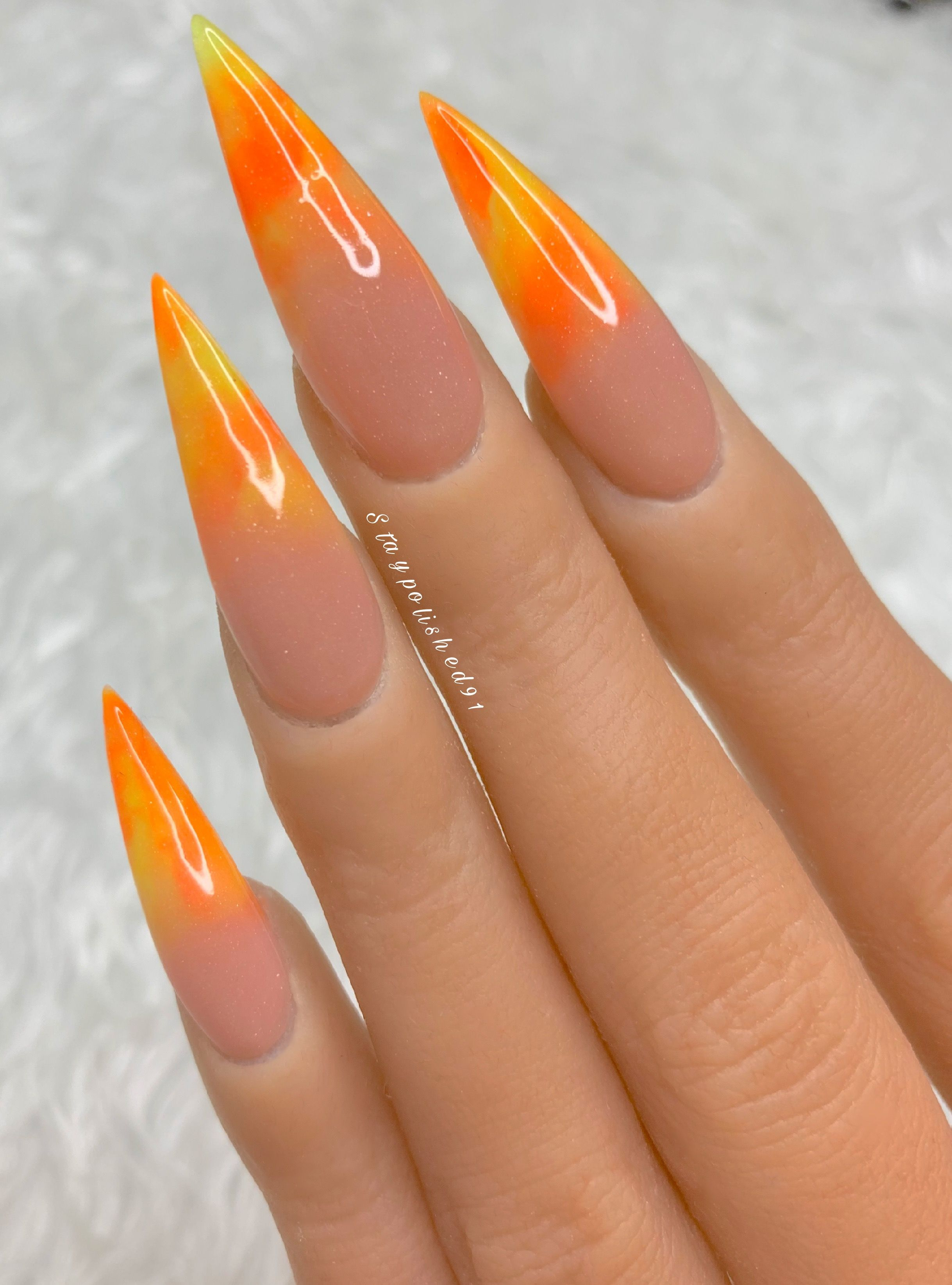 Staypolished91 Instagram Acrylic Nails Stiletto Orange Ombre Nails Pink Acrylic Nails