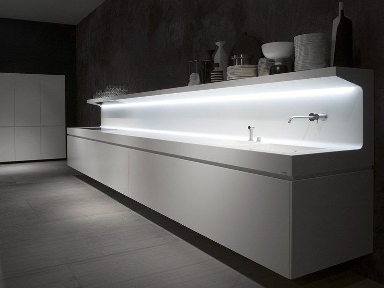 Linear wall-mounted Corian® kitchen LACUCINA by Antonio Lupi Design ...