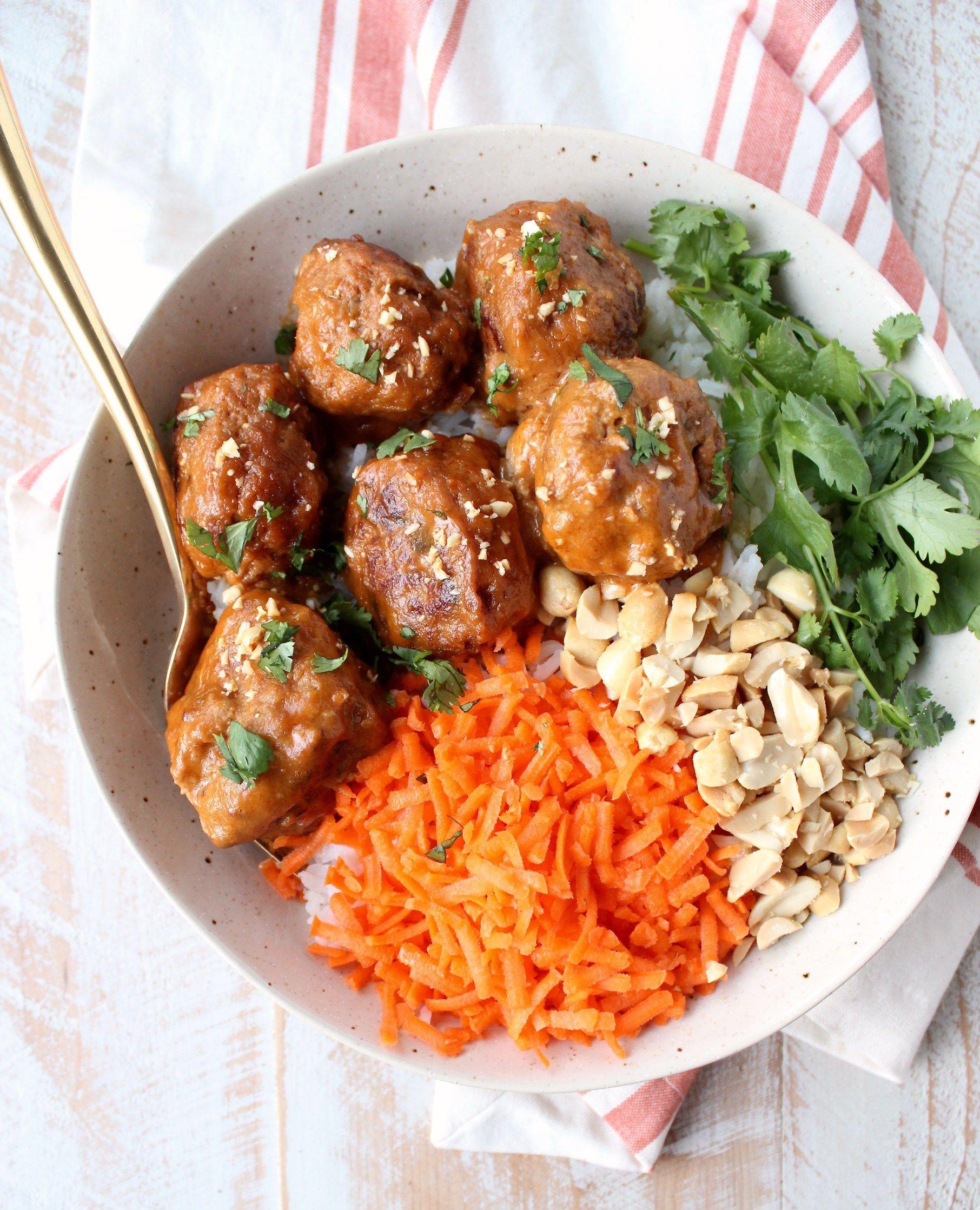 Slow Cooker Thai Peanut Turkey Meatballs | Slow cooker ...