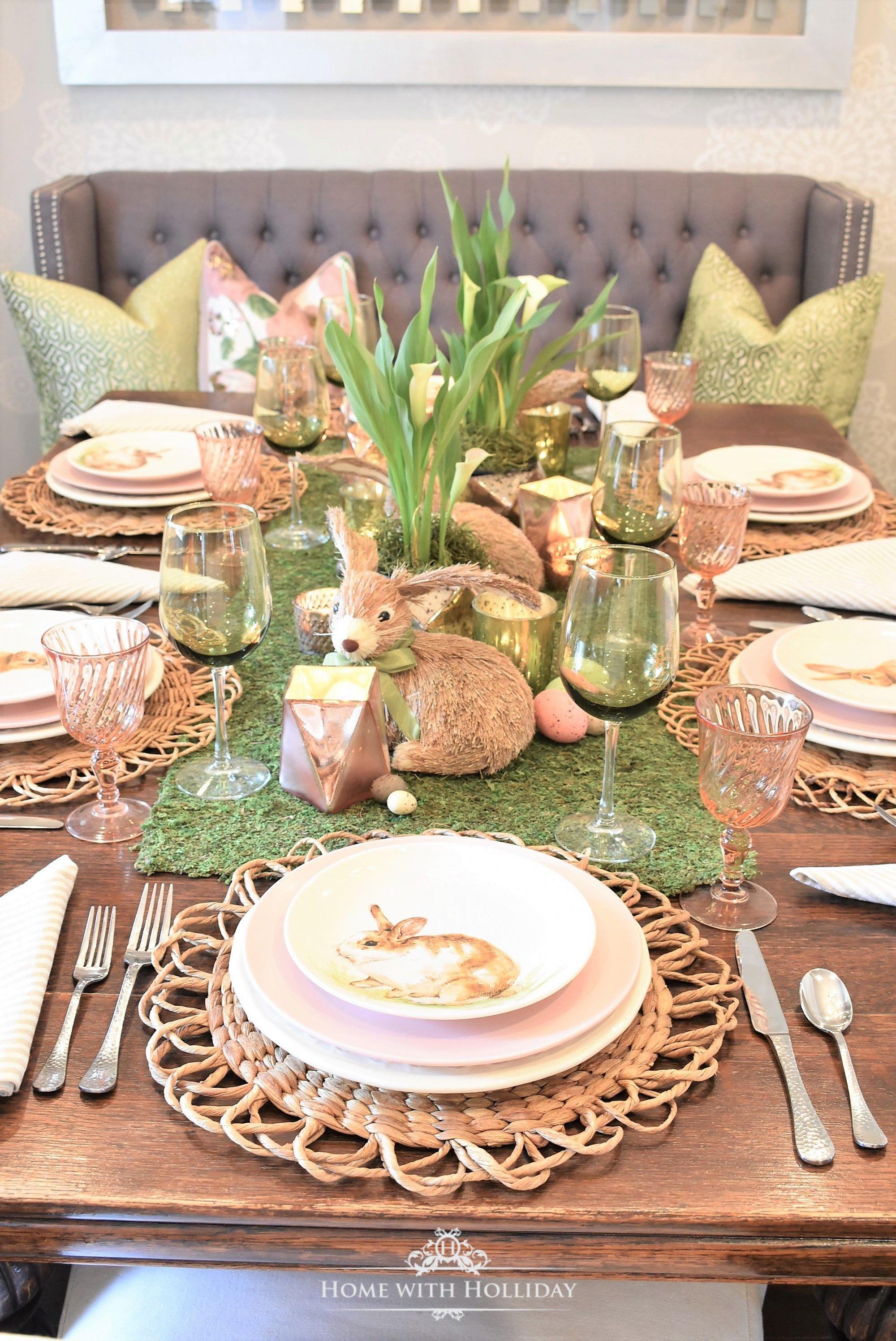 Green And Blush Pink Easter Table Setting Home With Holliday Easter Table Settings Easter Table Decorations Easter Tablescapes