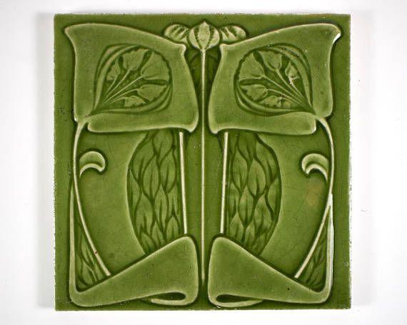 Antique 1900s English Art Nouveau Cleveland Tile Co Flower Pottery