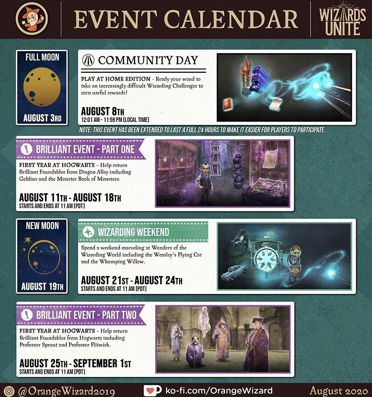 Pin By Marla Montville On Harry Potter Wizards Unite Event Calendar Full Moon Make It Simple