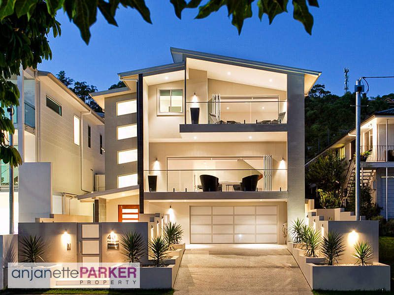 Tiles modern house exterior with balcony path lighting House