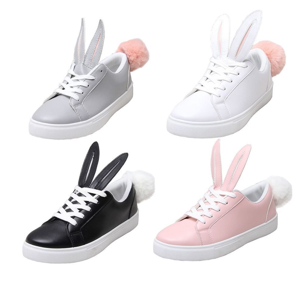 Ladies Black Rabbits Ear Sneakers Pom Pom Fluffy Fur Flats Lace Up Trainers UK 4