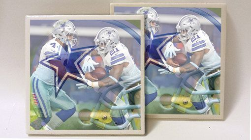 Dallas Cowboys Dak Zeke Designed Set Of 2 Ceramic Tile Coasters