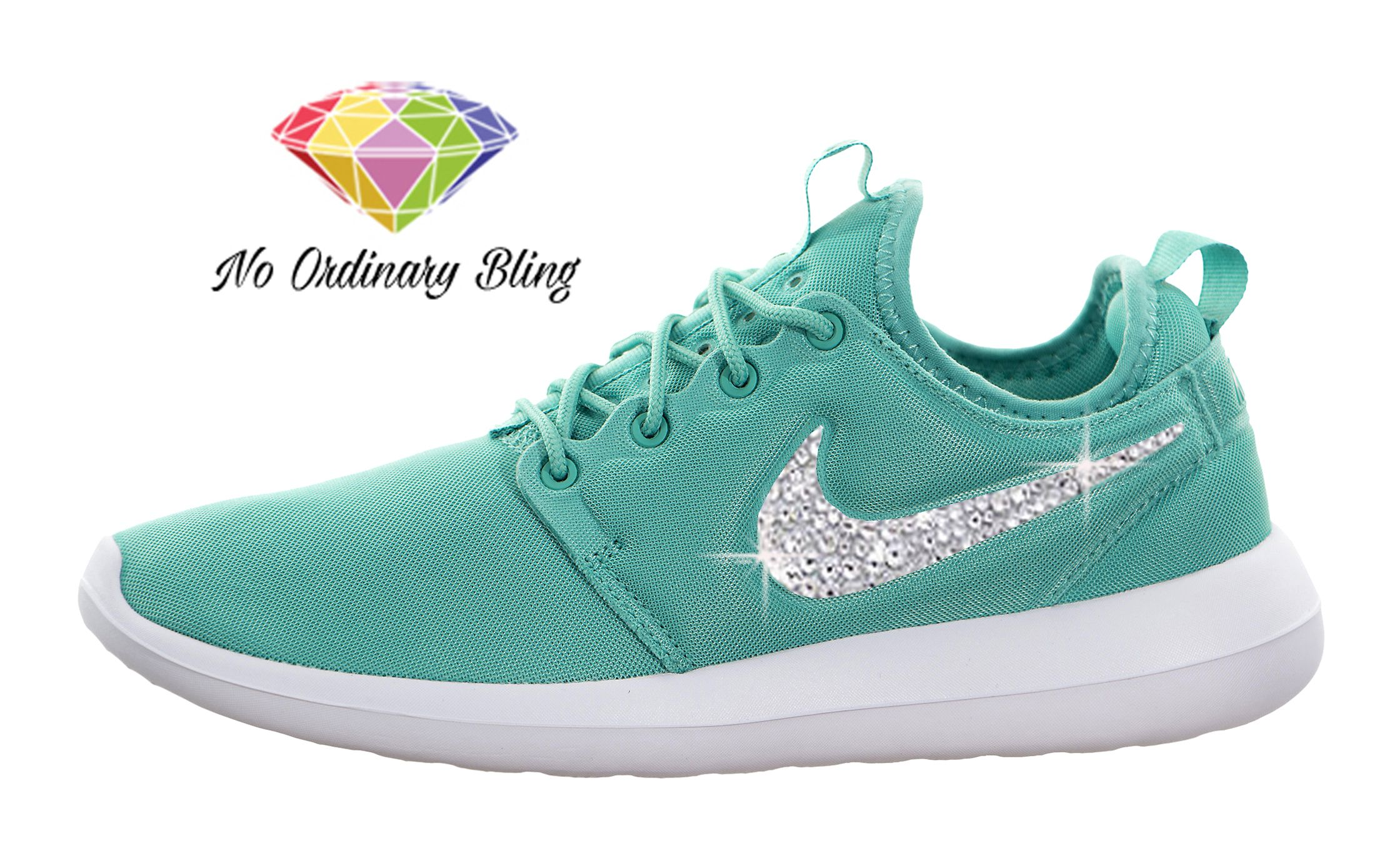 Nike Teal Bling Roshe Run Two Women's Washed