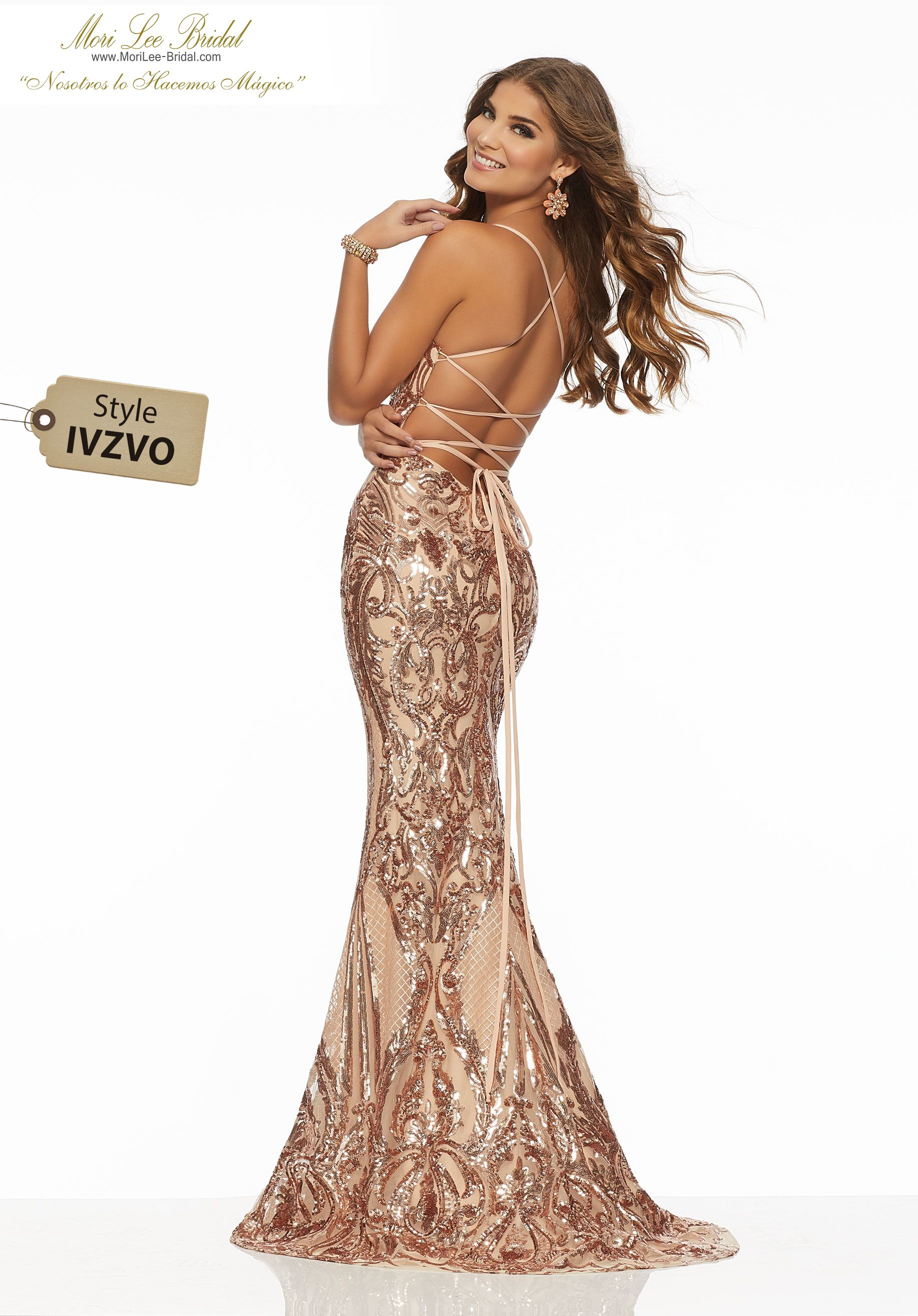 8fd9ad62ff3 Patterned Sequin on Net Form Fitting Prom Dress Featuring Pattern Sequin on  Net and a Deep-V Neckline. A Strappy Lace-Up Back Completes the Look.