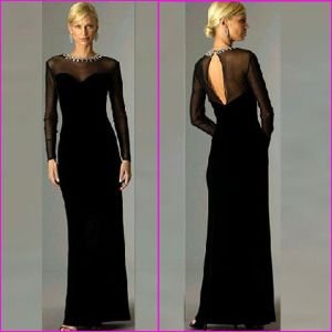 Awesome 2015 Latest Designs Elegant Long Sleeve Evening Dresses Black Lace V