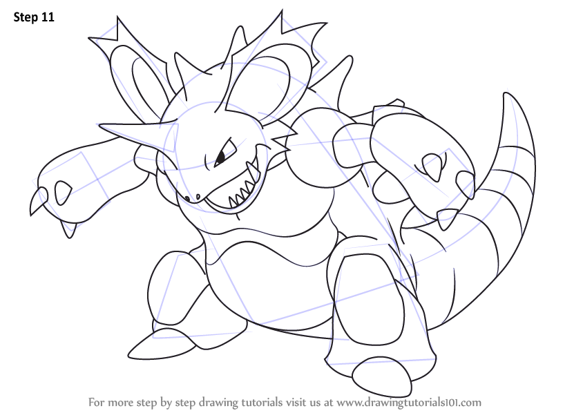 Learn How To Draw Nidoking From Pokemon Pokemon Step By Step Drawing Tutorials Pokemon Coloring Pages Pokemon Coloring Drawings