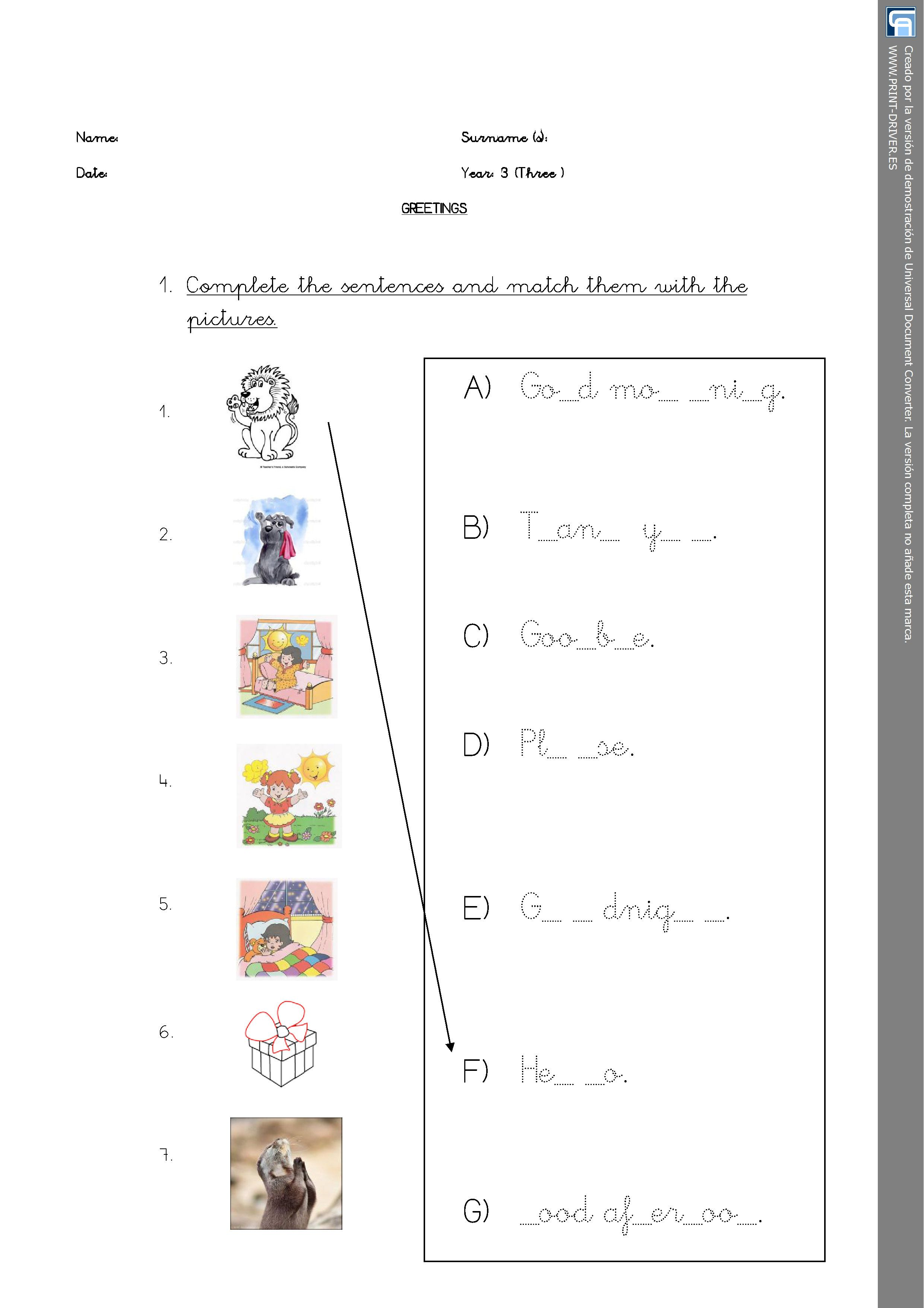 Matching Activity Greetings Worksheet Personal Teaching