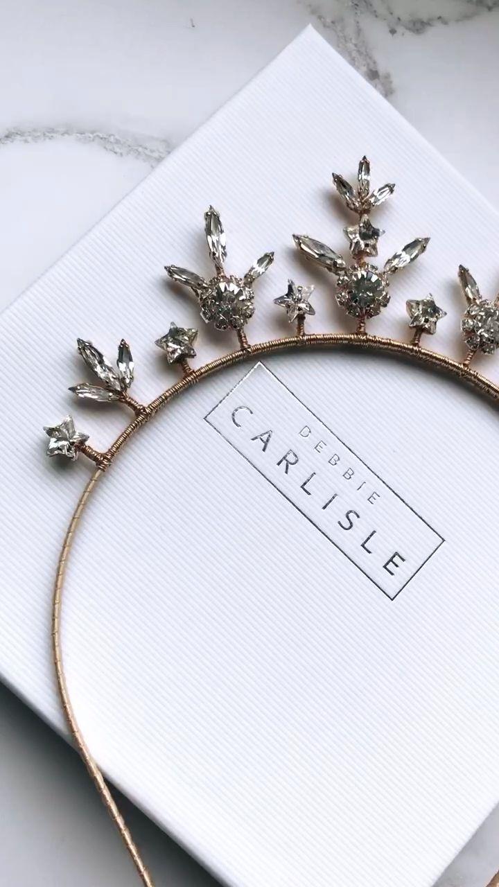 Star gold crown delicate celestial tiara in Swarovski Crystal – Orion – Debbie Carlisle