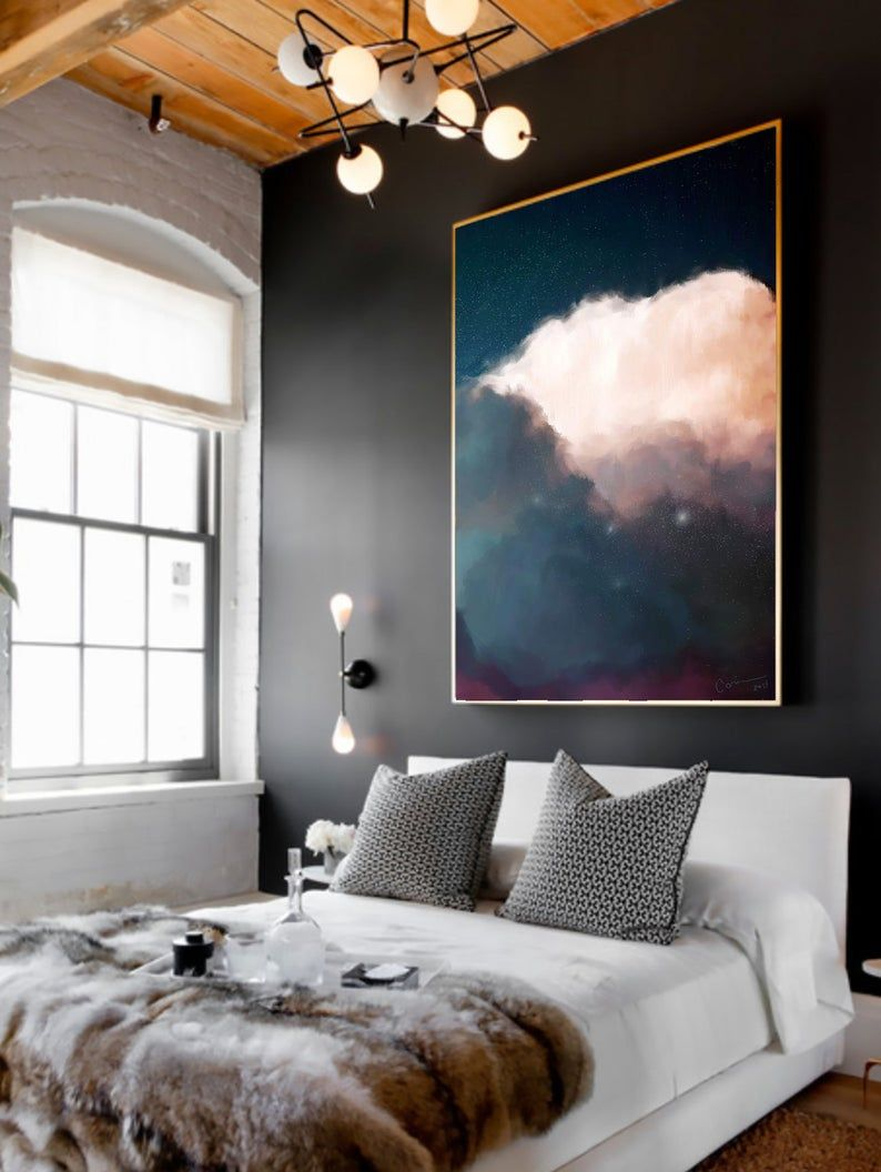 Large Wall Art Abstract Art Print Abstract Giclee Modern Art From Original Acrylic Painting Navy Cream Ready To Hang In 2020 Bedroom Design Home Decor Interior Design