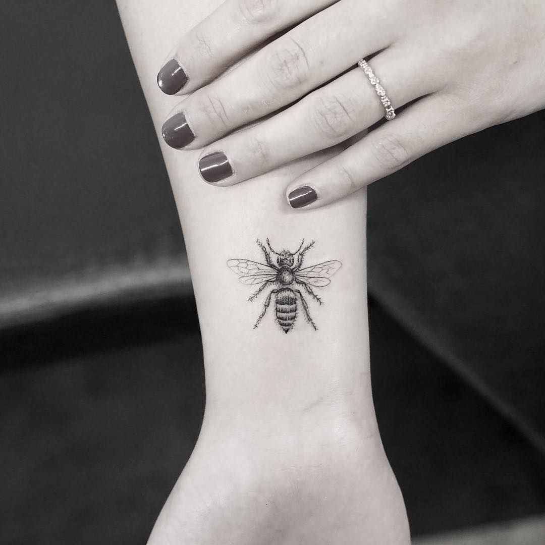 Tattoo tattoo designs and photography you can - The Micro Honey Bee Tattoo If You Want A Bee Tattoo On Your Wrist This Kind And This Size Is Definitely Perfect