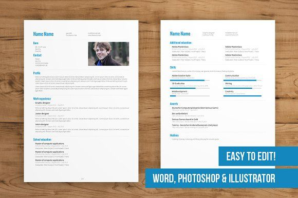 2 Page CV Template easy to edit by Designed in Berlin on - pages resume templates free