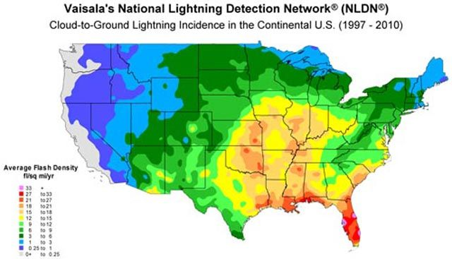 Thunderstorms The Stormiest Places In The U S A And The World Weather World Weather Lightning Usa Map