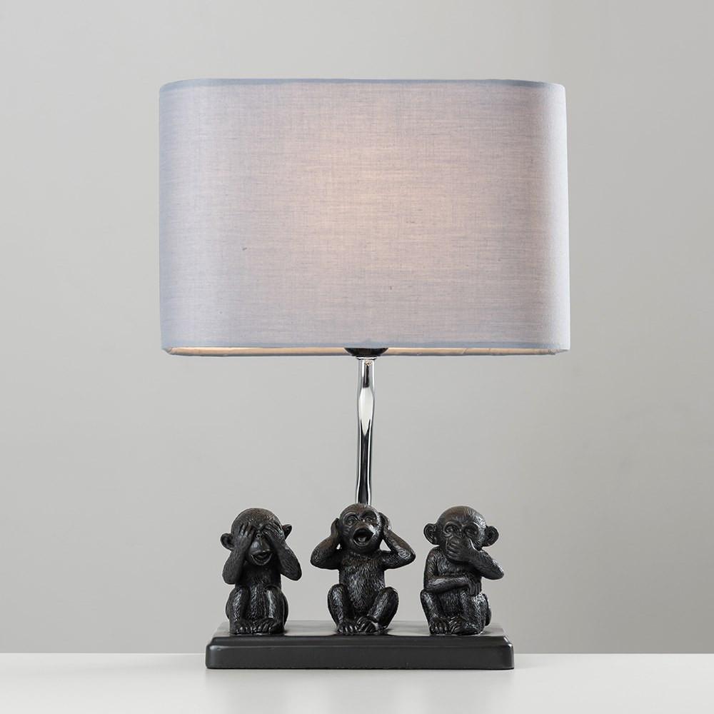 Three Wise Monkeys Table Lamp Grey Shade Iconic Lights Table Lamp Lamp Copper Table Lamp