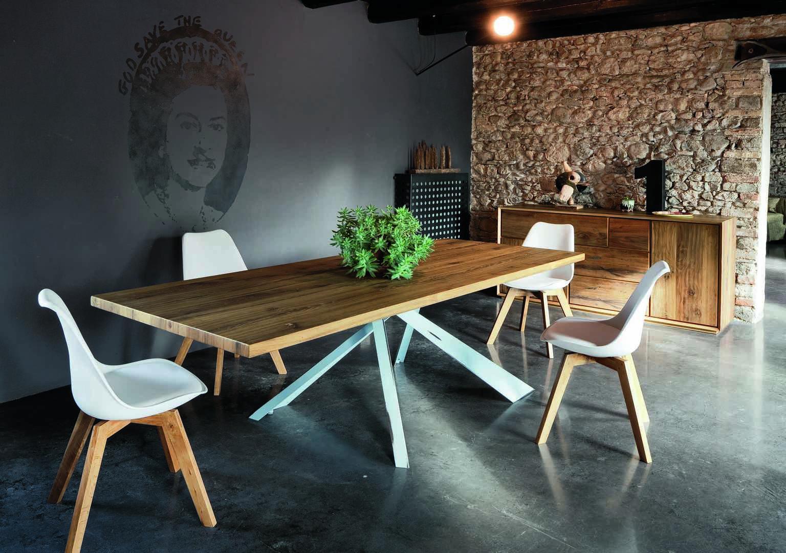 Tavolo Altacorte ~ Sedia space proposta con struttura naturale con seduta imbottita