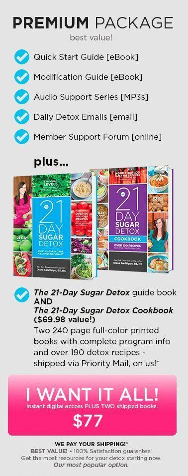 The 21-Day Sugar Detox is a comprehensive, yet simple and effective real-foods based program to help break the chains sugar and carbs have on you. #sugardetoxdrink #simpledetoxeffects #sugardetoxplan