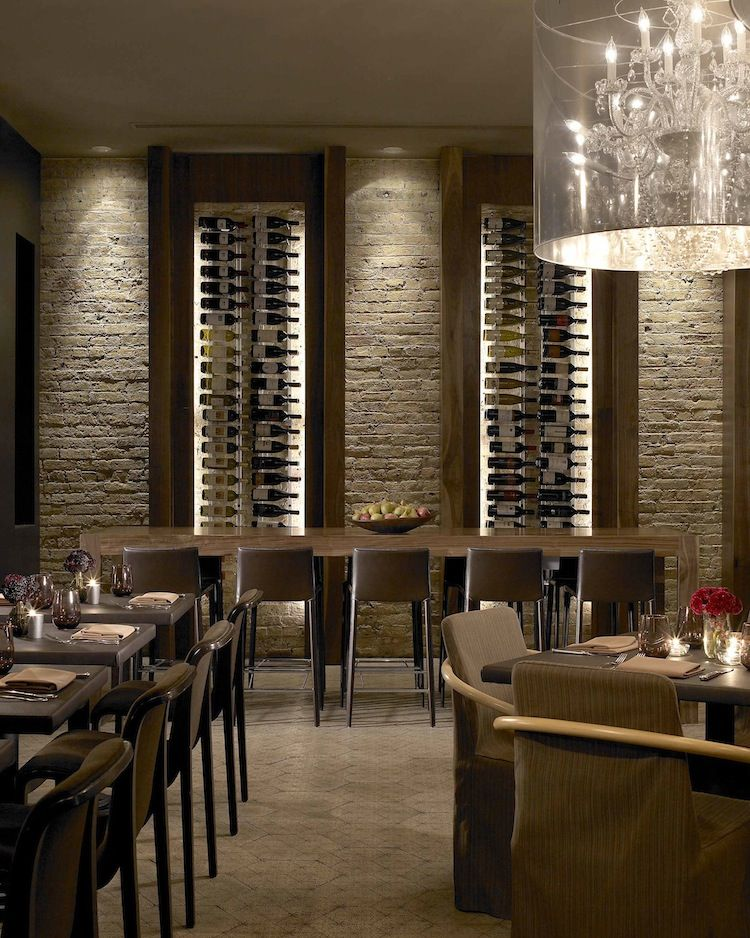 Wall Design In Cafe : Restaurant wine wall storage