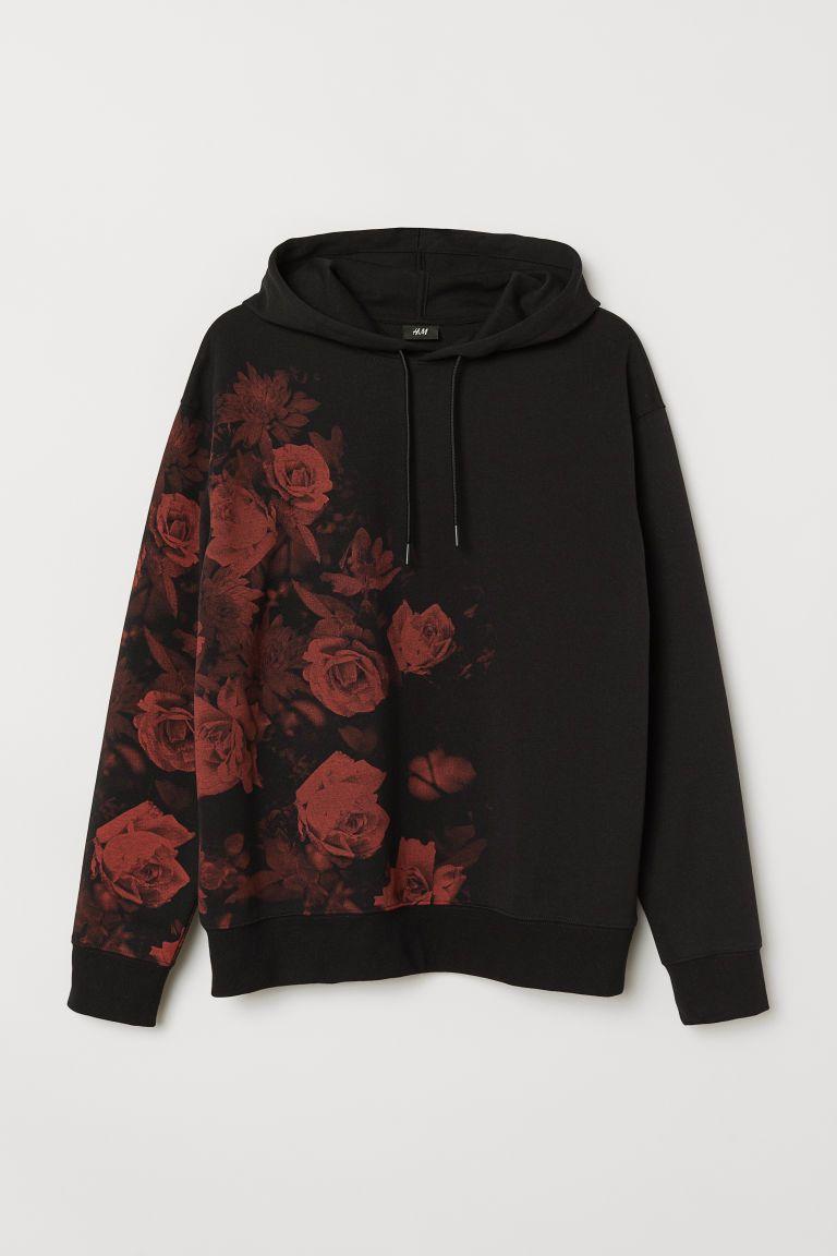 Printed Hoodie | Schwarzer hoodie, Outfit und Jungs hoodies