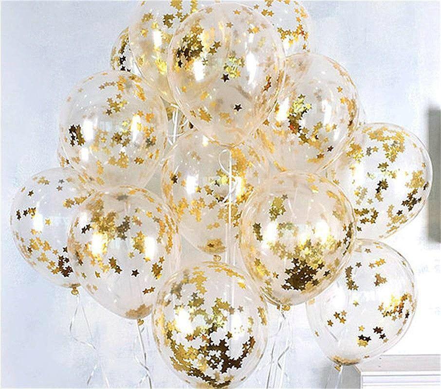 "10pcs Gold Confetti Balloons 12"", Gold Party Balloons, Transparent Balloons, Clear Balloons Birthday Baby Shower Decor, Wedding Balloons"