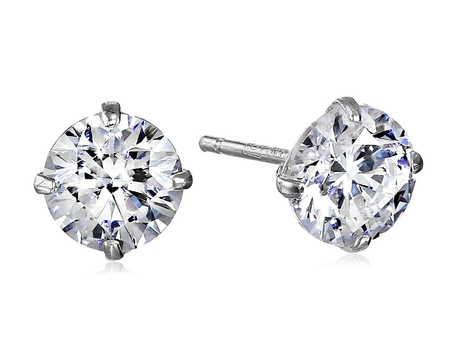 10k Gold Swarovski Zirconia Stud Earrings  Earrings  JewelryEarrings. Belos  BrincosBrincos De TachaSwarovskiOuro Branco 9db26e3887